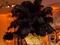 Wholesale black plumes - Ostrich Feathers Plume Centerpiece for Wedding Party Table Decoration natural Black Ostrich Feathers (Many Sizes for You To Choose)