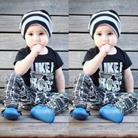 Wholesale Kids Stripe Tops - Ins Boys Clothing Sets Baby Letters Glass Stripes Fashion Suits Infant Casual Outfits Kids Ins Tops & Shorts 1-5T LG2017