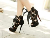 Wholesale Sexy Lace Up Womens Boots - Wholesale-2015 Summer Ankle Boots Womens Sexy Cutout Stiletto 14cm High Heels Gladiator Sandals Platform Peep Toe Women Shoes