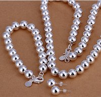 Wholesale 925 Necklace Bracelet Hollow Ball - 2017 hot 925 sterling silver sets 10mm hollow ball necklace bracelet earring for women nigeria african beads jewelry set S082