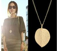 Wholesale Gold Leaf Design Necklace - Latest Design Necklace Jewelry Cheap Costume Jewelry Gold Color Alloy Leaf Design Pendant Necklace Fashion Jewelry For Women