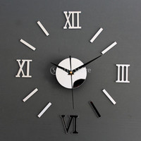 Wholesale Wall Clock Diy Numbers - Wholesale- Silver DIY 3D Roman Numbers Watch Clock Home Decor Mirror Face Wall Sticker