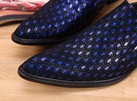 Wholesale formal dresses large sizes - Brand Italian Luxury Genuine Leather Men Shoes Bling Bling Fashion Pointed Toe Wedding Formal Dress Shoes Men Flats Large Size