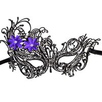 Wholesale Rhinestone Cat Mask - Lace Flower Mask Women's Flower Party Masquerade Eyemask With Clear Rhinestone For Halloween Costume Party Ball Prom Cat Eye Mask (Black)