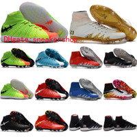 Wholesale Cheap Gold Ankle Boots - 2017 Nj X ankle high soccer cleats hypervenom phantom ii iii FG jr soccer shoes mens neymar football boots cleats boots football shoes Cheap