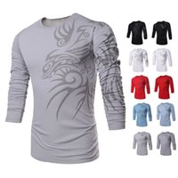 Wholesale Product Sleeve Printing - Totems Printing Men's T Shirt Fashion Sport Shirt Long Sleeve O Neck Round Neck Printing Elastic Product Good Quality Free Ship TX71 TX73-R3