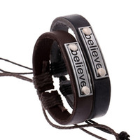 Wholesale Cheap Snake Bracelets - 2017 Fashion Handmade Cheap Price Wholesale Believe Leather Braided Bracelets and Bangles mens bracelets women jewelry