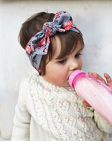 Wholesale Big Head Bows - NEW Boho Lovely Knot Headband Scarf Floral Headbands Hair Head Band Cotton BIG Bow Bunny ears Cute Headband rabbit baby Bohemian 15Colors