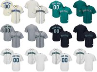 Wholesale Custom Blank Jerseys - Youth custom any name number Seattle Mariners navy blue grey green cream Cool Base and flexbase blank Jerseys Top Qulity Stitched Size S-XL