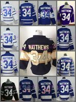 Wholesale L Brown Color - 2017 New Draft Toronto Maple Leafs Jersey Blue 34 Auston Matthews Ice Hockey Jerseys Team Color Alternate All Stitched Best Quality