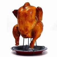 Wholesale Grilled Roast Chicken - Chicken Roasting Poultry BBQ Roaster Tray Rack Bowl Pans Party Grilled Chicken Dish Non-strick Upright Bowl Camping Tool