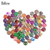 Wholesale Mixed Glass Cabochons - BoYuTe 70Pcs Round 10mm Cabochons Mix Leopard Dot Rudder Anchor Image Glass Earrings Cabochon Diy Jewelry Findings XL4559