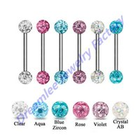 Wholesale double stud ring - 12pieces Steel Double Glitter Crystal Ball Epoxy Tongue Barbell Stud Ring Fashion Piercing Body Jewelry