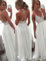 Wholesale Classic Vintage Wedding Dresses - Halter A Line Floor Length Backless Chiffon Simple Classic Crystal Beaded Wedding Gown Beach Wedding Dresses
