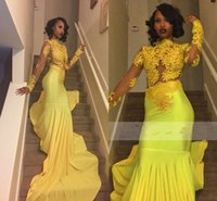 Wholesale Evening Dreses Sleeves - 2017 New High Neck Yellow Lace Appliques Mermaid Prom Dreses Sheer Long Sleeves African Girls Party Wear Formal Evening Gowns