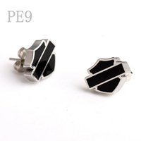 Wholesale Silver Earrings Punk - Free Shipping! Punk hot sale Silver White Motor Club Earrings Black Soft Enamel Biker Earrings Jewelry