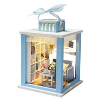 Wholesale Dollhouse Miniature Led Lights - Wholesale- Hot Sale DIY Doll House Wooden Miniatura Doll Houses Miniature dollhouse With Furniture LED Lights Birthday Gift M023