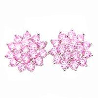 Wholesale Pink Gemstones Earrings - Wholeasle Russia Sterling Silver plated jewelry Full Fire Pink Cubic Zirconia gemstone crystal wedding Stud earrings jewelry