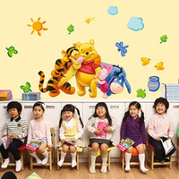 Wholesale Tiger Stick Wholesaler - Wall Stickers Children Decorative Decals Kids Winnie The Pooh Tiger Rooms Adhesive To Wall Decoration Removable 3D Home Decor Bear
