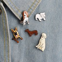 Wholesale Golden Brooches - Bulldog Golden Retriever Shepherd Dachshund Dog Pin Dog Brooch Enamel Lapel Pin Animal Jewelry For Dog Lover