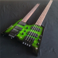 Wholesale Headless Neck - New Double necks Headless Electric guitar with Flamed Maple top, 6 string Guitar + 4 string Bass Combo, Transparent green guitar