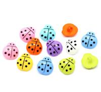 joaninha botons venda por atacado-Atacado freeshipping 16 * 15mm mix colorido Joaninha forma botões de costura notionstools acrílico botões único buraco botão de costura # 00113 #