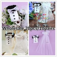 Wholesale Wine Bottle Design Dress - Wholesale-20PC Lot 10 Paris Brides White Dress Groom Clothing Design Wedding Decoration Wine Glass Cover Party Wine Bottle Festival Supply