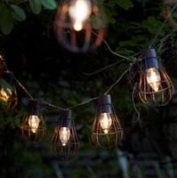 cadena de luz vintage al por mayor-2017 NUEVO 10led Solar Garden Light LED Bombilla solar Vintage Cage String Light Lámpara solar impermeable Luces decorativas al aire libre para jardín MYY