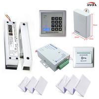 Wholesale Rfid Door Lock Kit - RFID Access Control System Kit Frameless Glass Door Set+Electric Bolt Lock+ID Card Keytab+Power Supply+Exit Button+DoorBell
