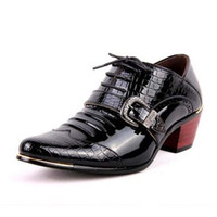 Wholesale mens high heel motorcycle boots - Size 38-44 Fashion Italian Designer Formal Mens Dress Shoes Patent Leather Black Blue Luxury Wedding Male High Heel Shoes D30