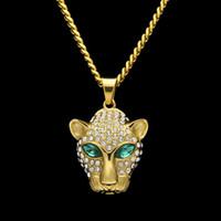 Wholesale Leopard Necklace Gold - Wholesale Leopard Head Hip Hop Tide Branded Necklace For Men Diamond Emerald Eye Pendant 2017 Fashion Hot Sale