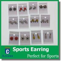 Wholesale Ear Cuff Bling Wholesale - Earring Softball Baseball Football Basketball Volleyball Soccer Rhinestone Crystal Bling for Girls Headbands Sports