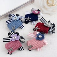 Wholesale Wholesale Hair Piece China - Brand new Hairpin wool flower duckbill clip folder hair ornaments head ornaments FJ165 mix order 60 pieces a lot