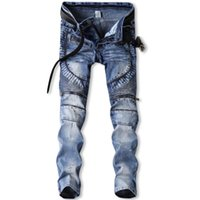 Wholesale Pants Motorcycle 34 - Hot style men's elastic jeans character paint point zipper trousers fold motorcycle pants
