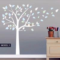 Wholesale vinyl stands - Owl Standing Huge Large Tree Wall Sticker Baby Nursery Bedroom Wall Decals Art Decor Owl And Birds Tree Branches Decals