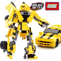 Wholesale Transformation Truck Toy - 2017 New 2-in-1 Transformation Series Building Blocks Set Robot Car Truck Bumblebee Model Deformation Toys Gudi 8711 8712 8713
