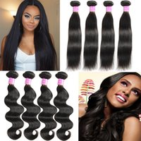 Virgem brasileira do cabelo humano Weave Straight Body Wave Extensão 4 Bundles Remy peruano Malaio Indian Human Hair Wefts Unprocessed