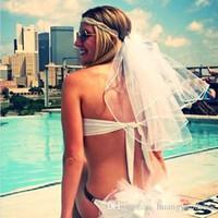 Wholesale Shorts Bridal Veils - 2017 Wedding Bikini Veils Two Layer Bridal Veil Bachelorette Ribbon Edge Party Veils Short White Wedding Veil