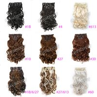 """Wholesale Clip Curls - Greatremy 20"""" Body Wave Full Head Clip In Hair Extensions Hairpiece Synthetic Colors #1b#4#6#10#16#27#30#33#99J#60#613,#27 613"""