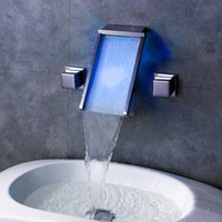 Wholesale Undercounter Mount Sink - LED Waterfall Contemporary Widespread Bathroom Sink Faucet Undercounter Hot And Cold Faucet with Chrome Dual Handle Three Hole