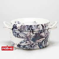 Wholesale Prime Enameled Cast Iron Covered Dutch Oven Casserole White Color Painting Enamel Cookware Round Doufeu Cooking Dish landscape