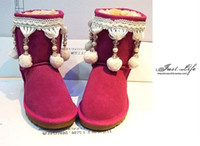 Wholesale National Trend Boots - Free shipping 2017 new Australian National trend princess beaded hair ball rose genuine leather cow muscle medium-leg outsole snow boots fem