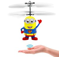 Wholesale Rc Helicopter Drop Shipping - Chrismas Gifts Movie Character RC Despicable Me Minions Aircraft Induction Helicopter Quadcopter Kids LED Toys Gift Drop Ship