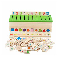 Wholesale Wood Match Box - Wholesale- Chanycore Baby Learning Educational Wooden Arithmetic Toys Box Digital Cartoon Blocks Matching Sorting Enlightenment Gifts 4030