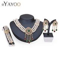 Wholesale costume jewelry pearl bracelets - Necklace Earrings Bracelet Rings Gold Color Simulated Pearl Jewelry Set For Women Beads Collar Sets Costume Fashion Accessories