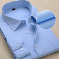 Wholesale Xl Work Shirt Mens - Wholesale- 2016 New Casual Long Sleeve Twill Men Dress Shirts Slim Fit Fromal Mens Work Shirts Striped Male Shirts Plus Size S-4XL