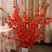 Wholesale Wholesale Peach Trees - Artificial Cherry Spring Plum Peach Blossom Branch Silk Flower Tree For Wedding Party Decoration white Red Yellow Pink Color 3002019
