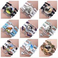 Wholesale Gem Weave - Brand new Selling horse gem glass bracelet hand-woven multi-layer leather bracelet FB144 mix order 20 pieces a lot Charm Bracelets