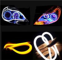 Wholesale Led Eye Amber - 2x 60cm White & Amber LED Headlight Strip Daytime Running Light With Turn Signal Car Angel Eye DRL HeadLamp Switchback Tube Style Decorative