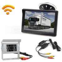 Wholesale truck rear view camera wireless - Wireless Waterproof Color CCD Reverse Backup Car Truck Camera IR Night Vision + 5 inch LCD Display Rear View Car Monitor